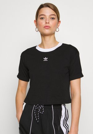 ADICOLOR CROP TOP - T-shirt z nadrukiem - black/white