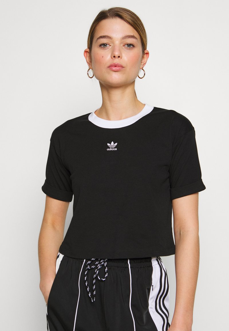 adidas Originals - ADICOLOR CROP TOP - T-shirt z nadrukiem - black/white