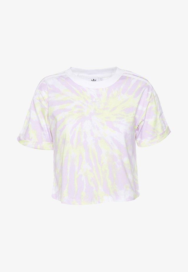 CROP - T-shirt print - white/purple tint/yellow