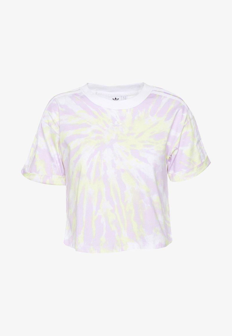 adidas Originals - CROP - Print T-shirt - white/purple tint/yellow