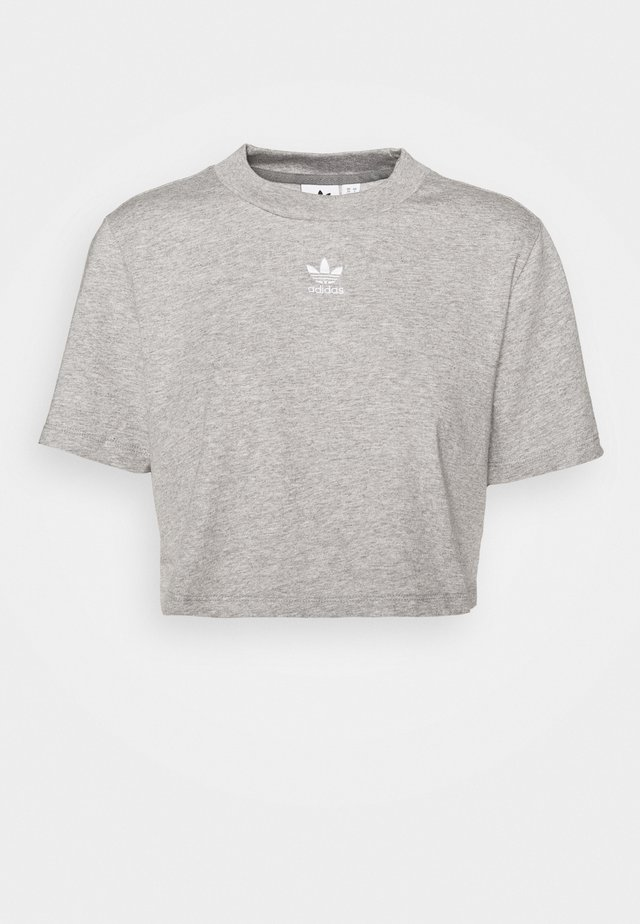 CROPPED TEE - T-Shirt print - medium grey heather