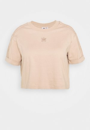 CROP - T-shirt con stampa - ash peach