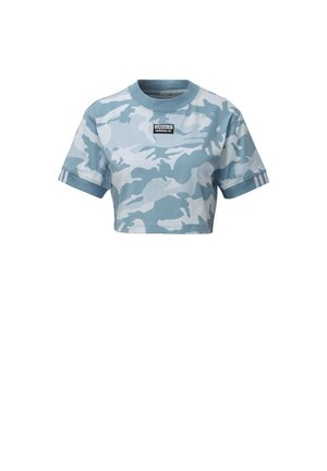 CROP TOP - T-shirts med print - blue