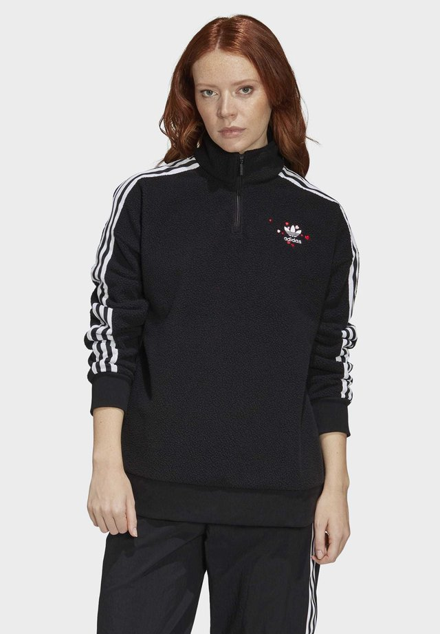 HALF-ZIP SWEATSHIRT - Bluza z polaru - black