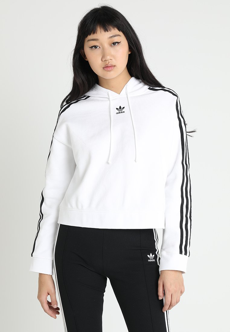adidas Originals - CROPPED HOODIE - Huppari - white