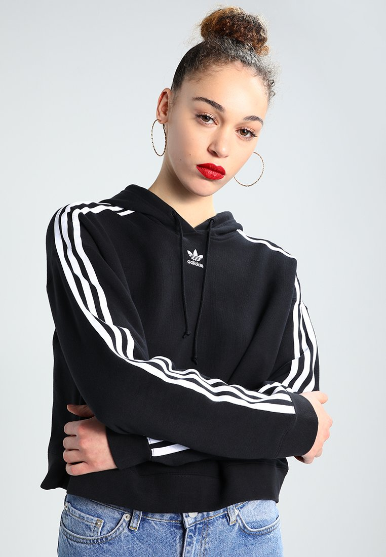 adidas Originals - CROPPED HOODIE - Luvtröja - black