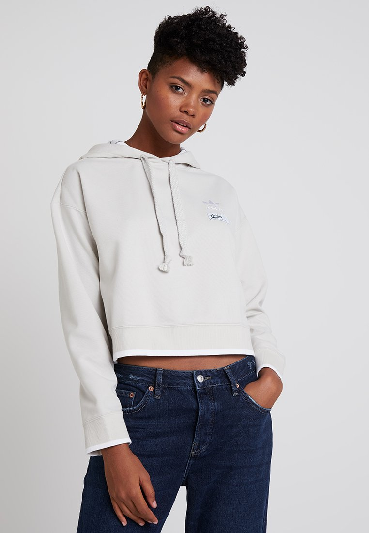 adidas Originals - CROPPED HOODIE - Jersey con capucha - raw white