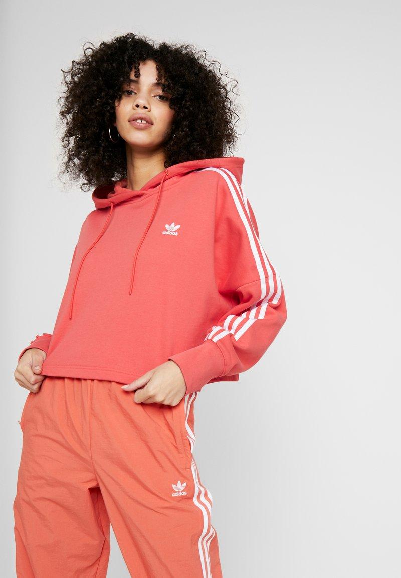 adidas Originals - ADICOLOR CROPPED HODDIE SWEAT - Felpa con cappuccio - trace scarlet/white