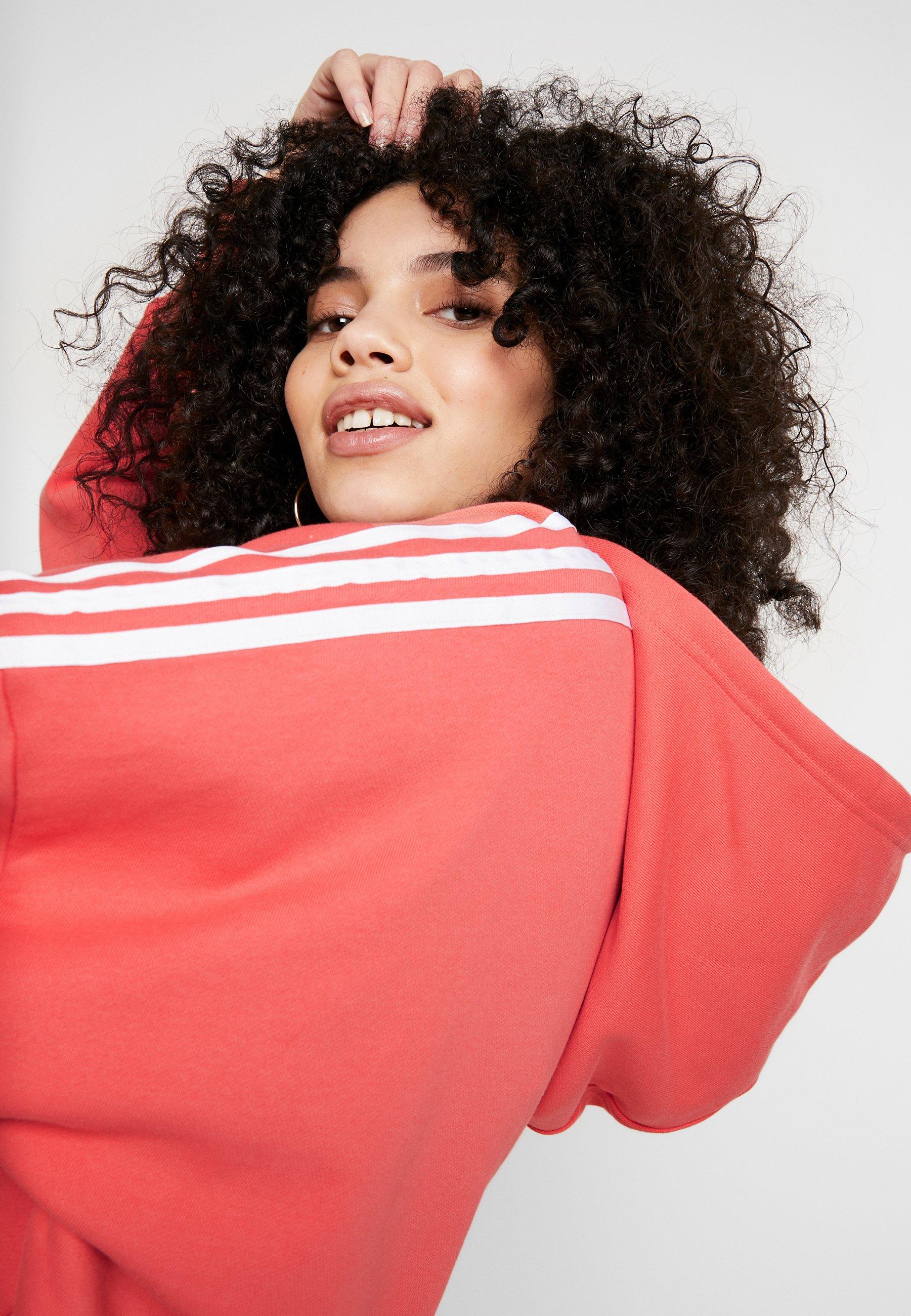 adidas Originals CROPPED HOOD - Hoodie - trace scarlet/white