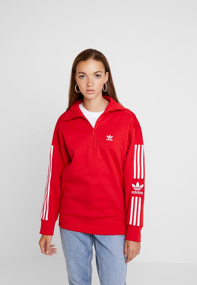 adidas Originals - ADICOLOR HALF-ZIP PULLOVER - Sweater - scarlet