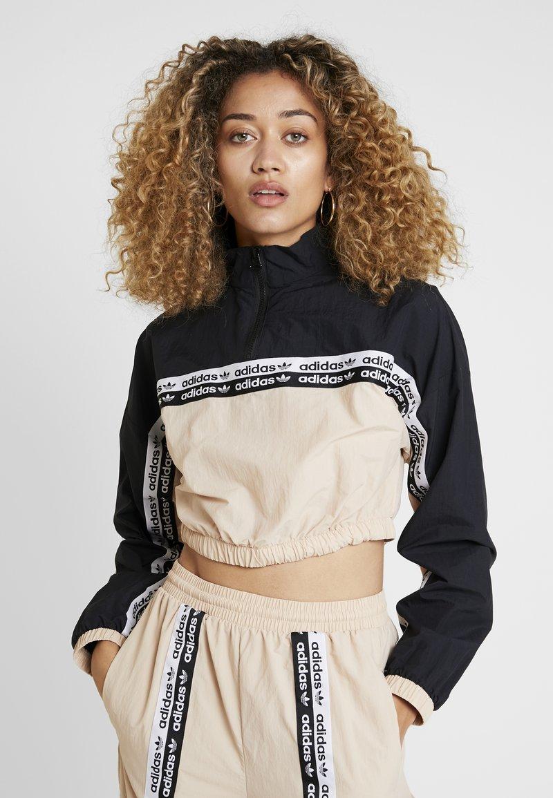 adidas Originals - CROPPED - Long sleeved top - ash pearl/black
