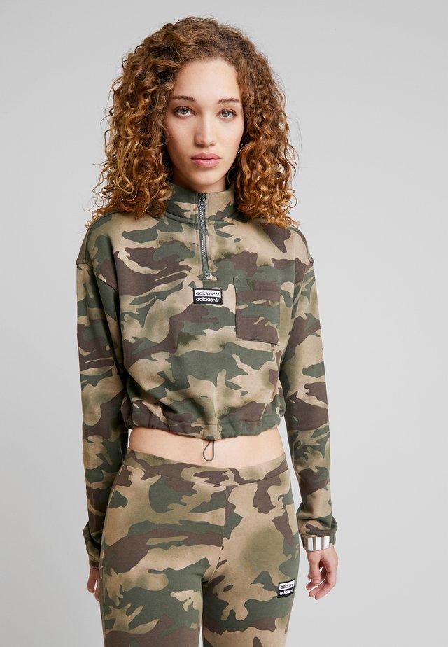 HALF ZIP - Sweater - hemp/earth green/base green/cargo brown