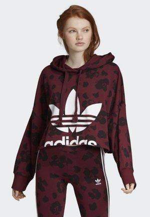 BELLISTA ALLOVER PRINT CROPPED HOODIE - Sweatshirt - red