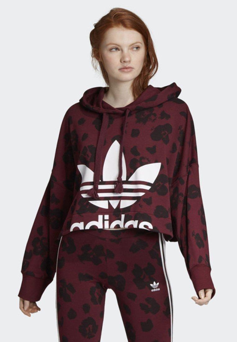 adidas Originals - BELLISTA ALLOVER PRINT CROPPED HOODIE - Sweatshirt - red