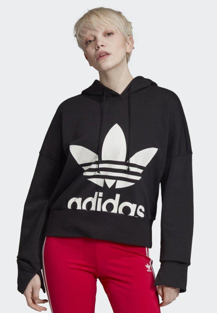 adidas Originals - CROPPED HOODIE - Sweatshirt - black