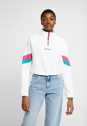 BLOCKED CROP - Sweatshirt - white