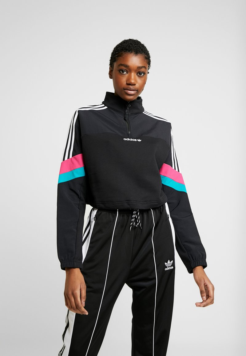 adidas Originals - BLOCKED CROP - Bluza - black