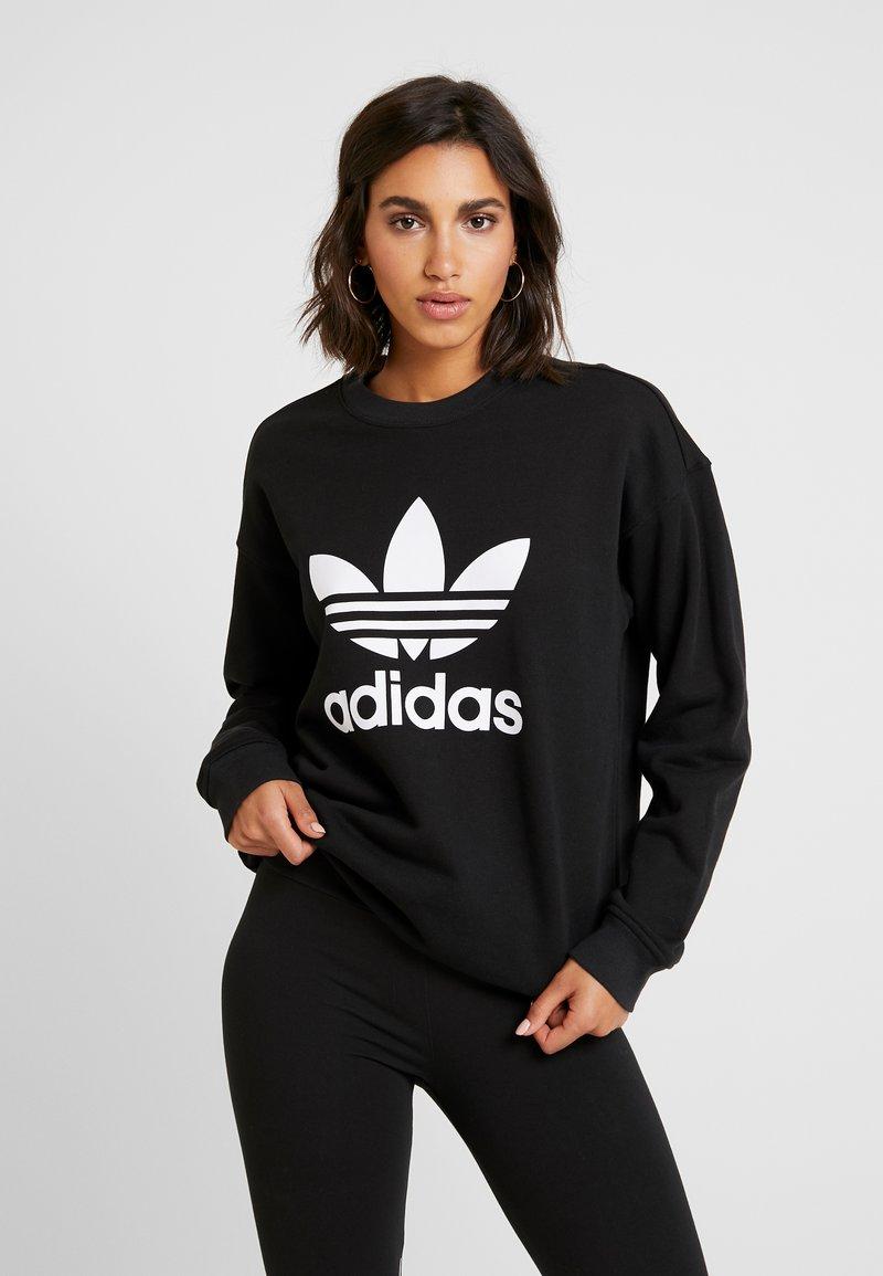 adidas Originals - ADICOLOR TREFOIL LONG SLEEVE PULLOVER - Sudadera - black/white