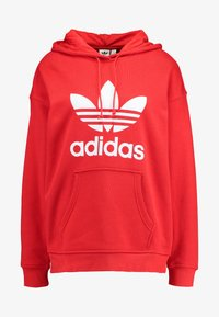 adidas Originals - ADICOLOR TREFOIL ORIGINALS HODDIE - Bluza z kapturem - lush red/white - 4