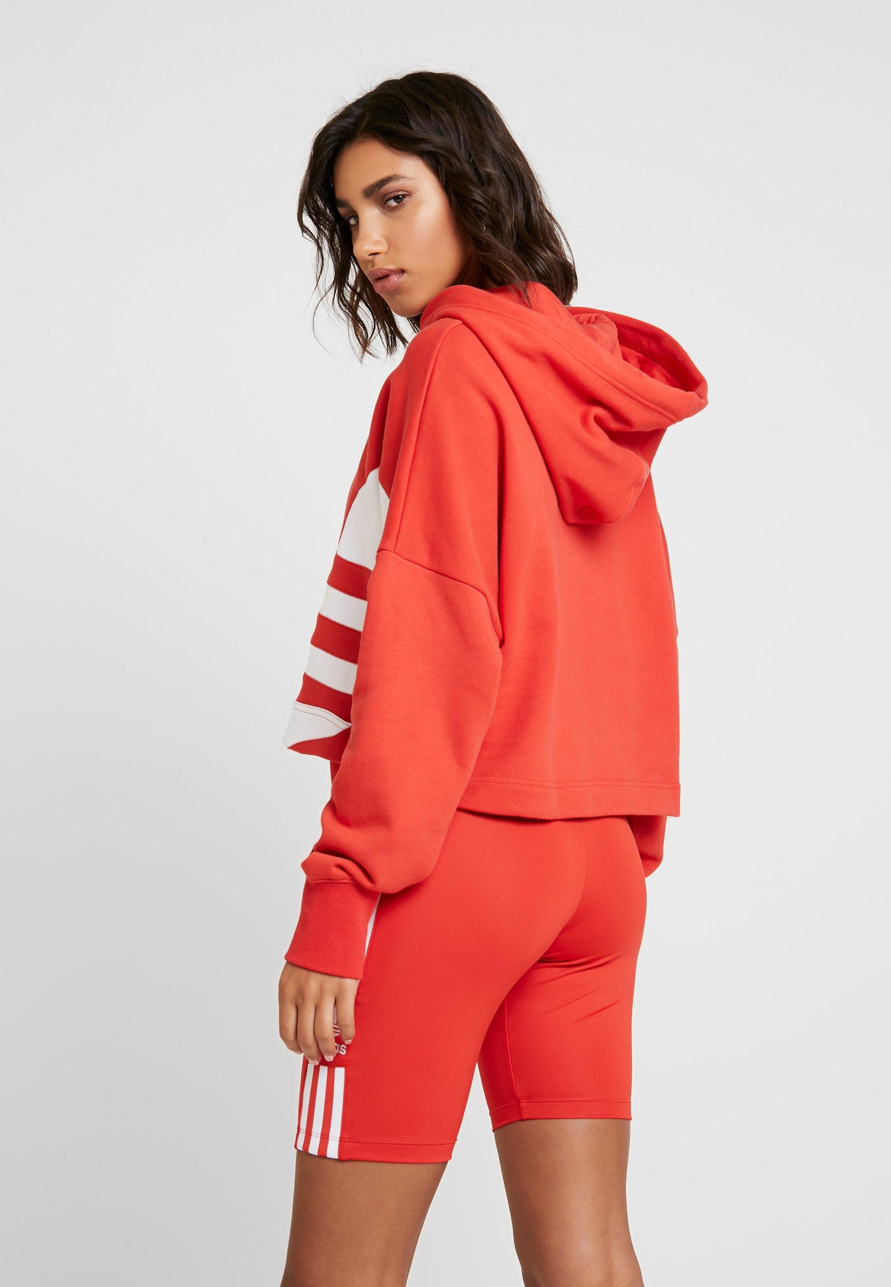 adidas Originals LOGO HOOD - Bluza z kapturem - lush red/white