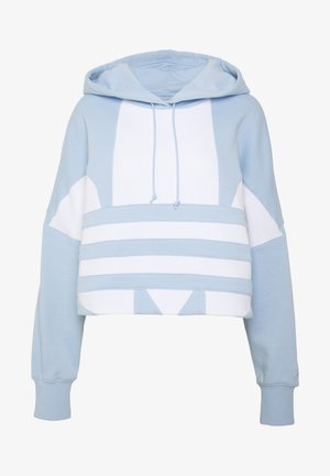 ADICOLOR LARGE LOGO CROPPED HODDIE SWEAT - Mikina skapucí - clear sky/white