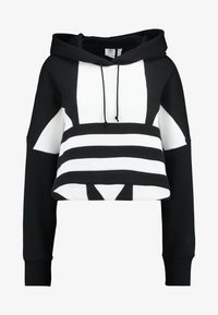 adidas Originals - ADICOLOR LARGE LOGO CROPPED HODDIE SWEAT - Jersey con capucha - black/white - 3