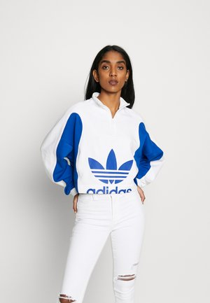 BELLISTA CROPPED LONG SLEEVE PULLOVER - Sweatshirt - white/collegiate royal