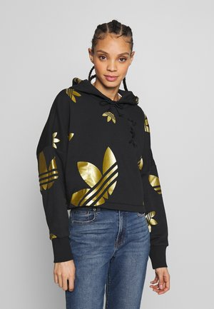ADICOLOR LARGE LOGO CROPPED HODDIE SWEAT - Felpa con cappuccio - black/gold