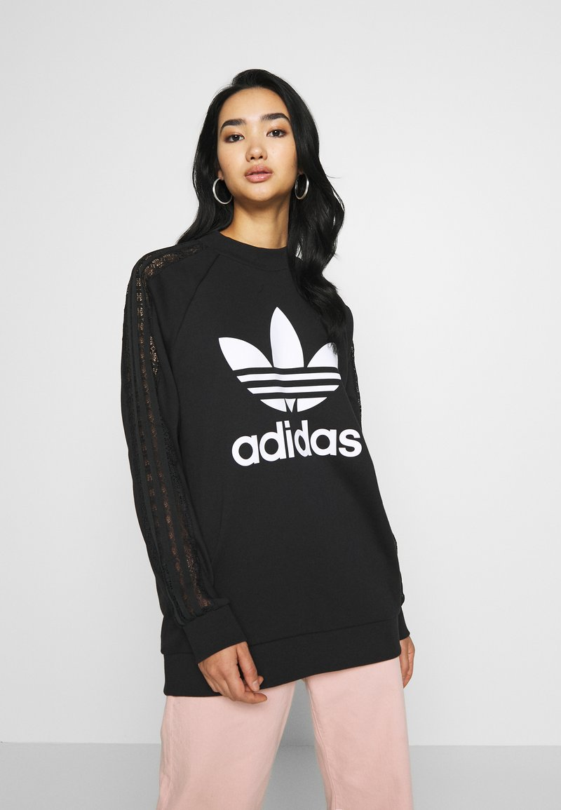adidas Originals - BELLISTA TREFOIL LACE LONG SLEEVE PULLOVER - Sweatshirt - black