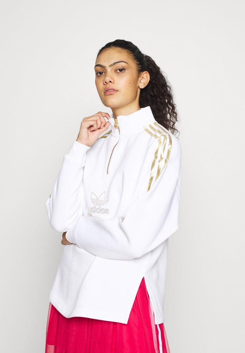 adidas Originals - TREFOIL QUARTER ZIP LONG SLEEVE PULLOVER - Bluza - white