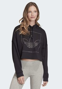 adidas Originals - CROPPED HOODIE - Bluza z kapturem - black - 0