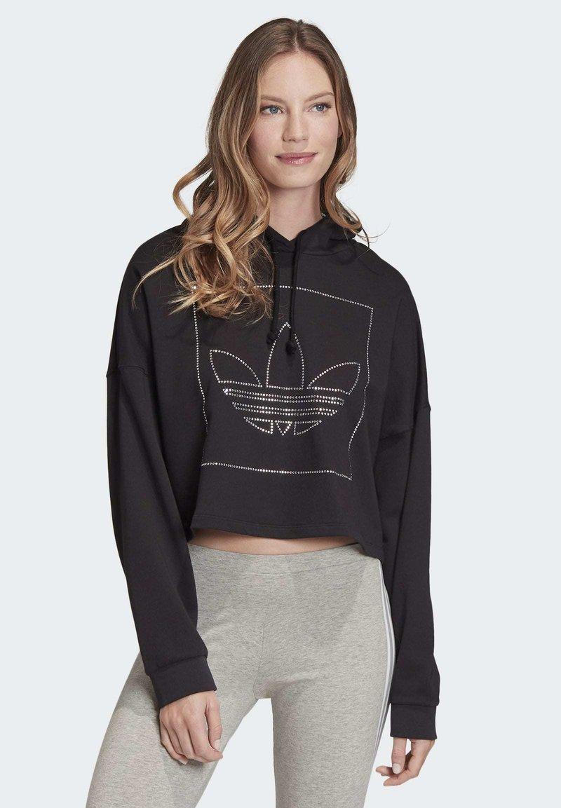 adidas Originals - CROPPED HOODIE - Bluza z kapturem - black
