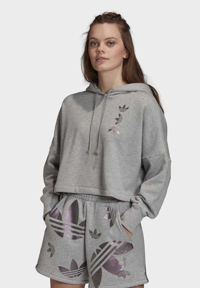 LARGE LOGO CROPPED HOODIE - Bluza z kapturem - grey