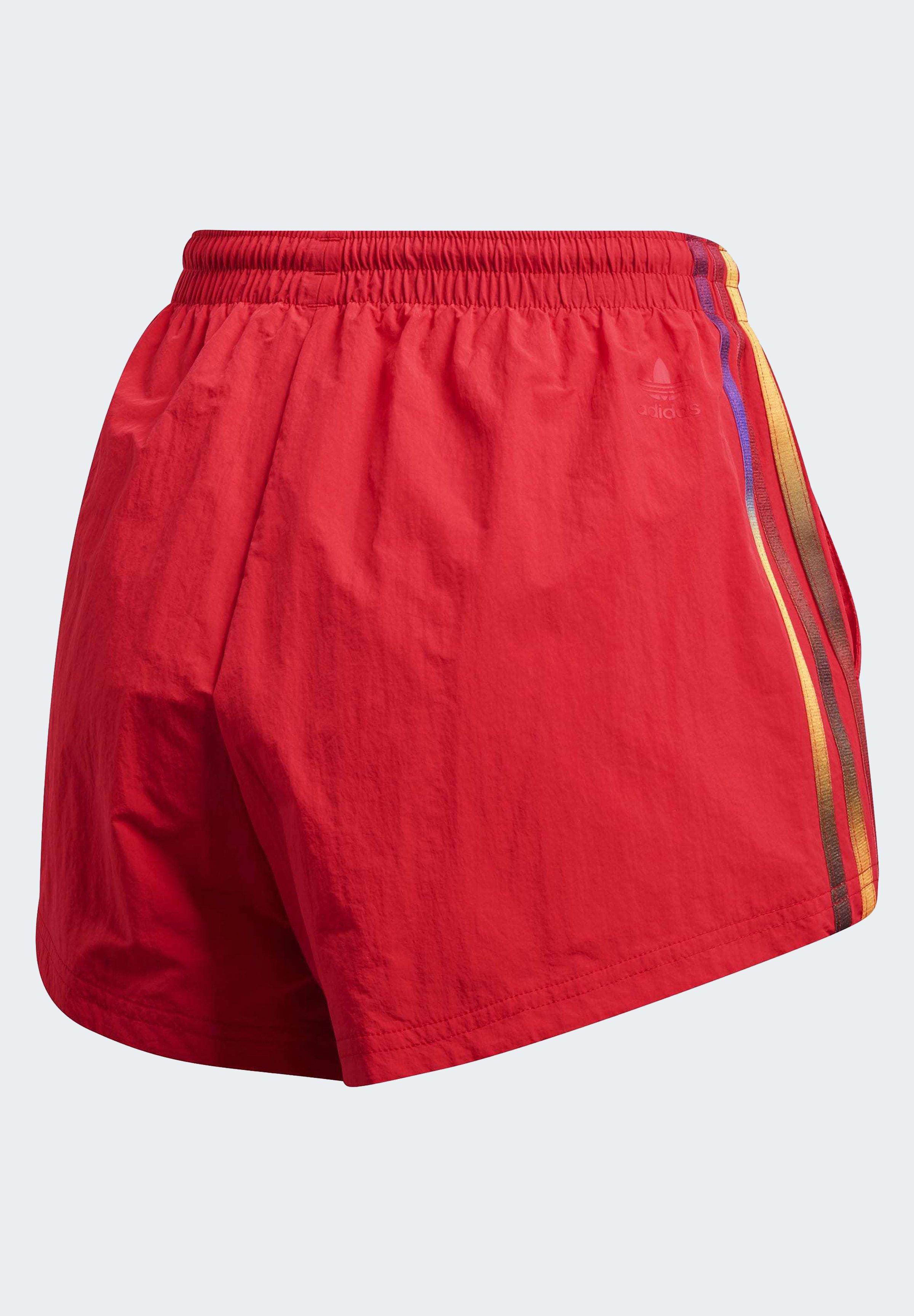 Adidas Originals 3 Stripe Short Shorts Trace Scarlet White