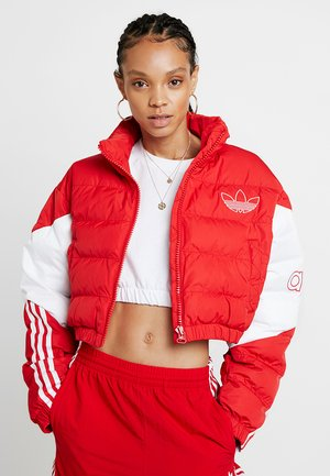 CROPPED PUFFER - Veste d'hiver - scarlet/white