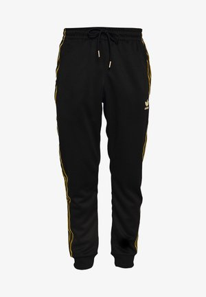SUPERSTAR 3STRIPES TRACK PANTS - Pantaloni sportivi - black/gold