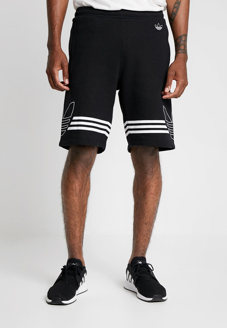 adidas Originals - OUTLINE TREFOIL REGULAR SHORTS - Tracksuit bottoms - black