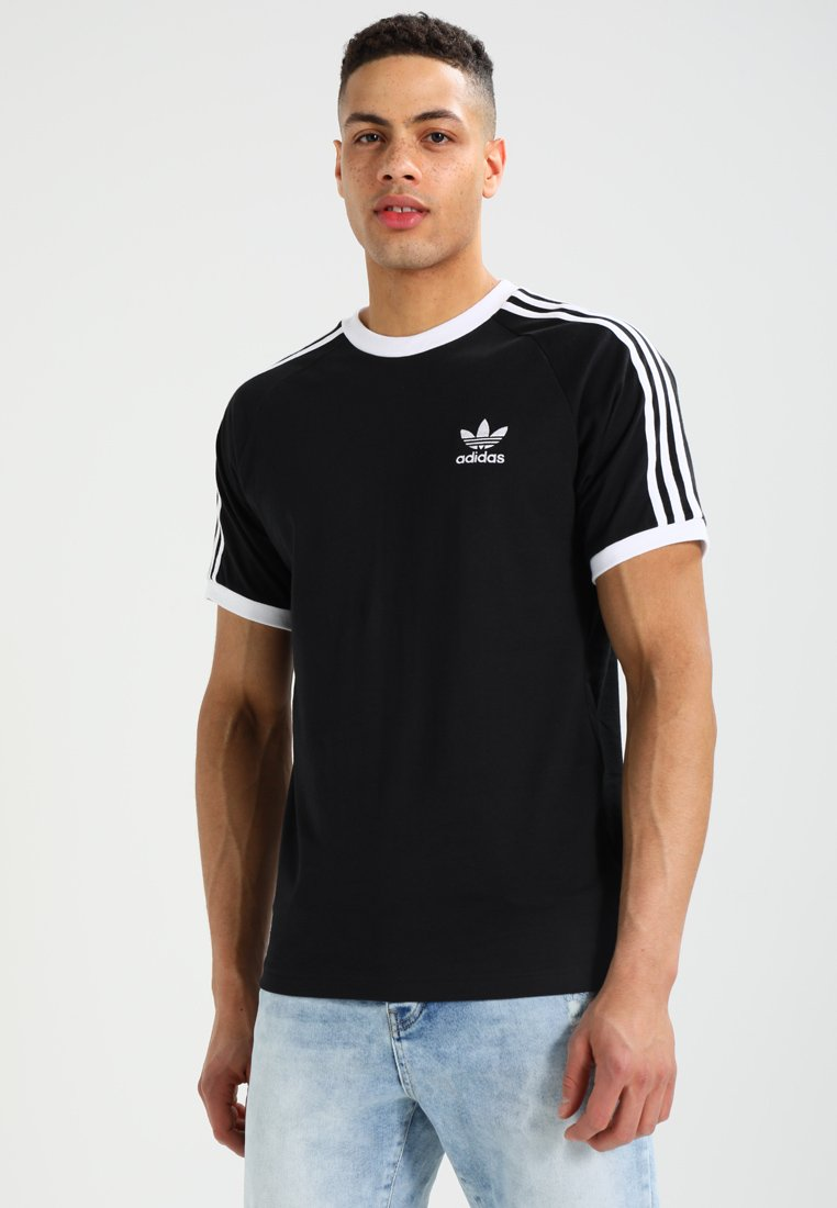 adidas Originals - ADICOLOR 3STRIPES SHORT SLEEVE TEE - Printtipaita - black