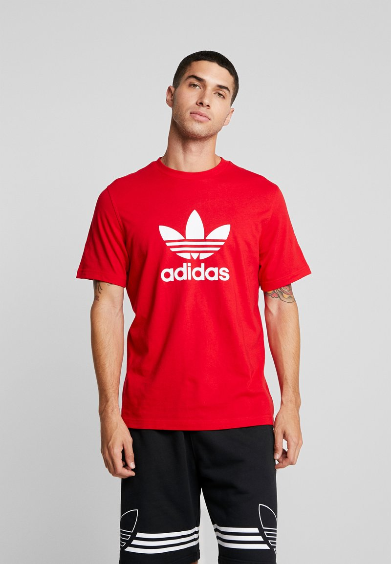 adidas Originals - ADICOLOR TREFOIL TEE - Print T-shirt - red/white