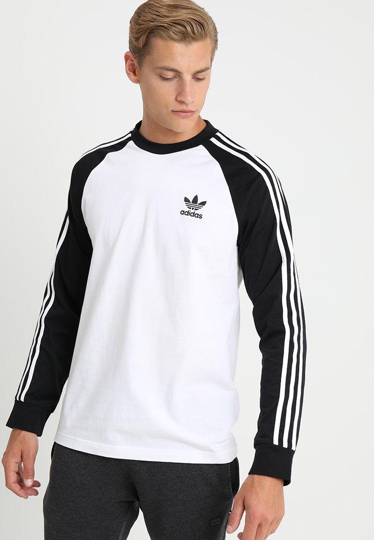 adidas Originals - ADICOLOR 3 STRIPES LONGSLEEVE TEE - Langarmshirt - white/black