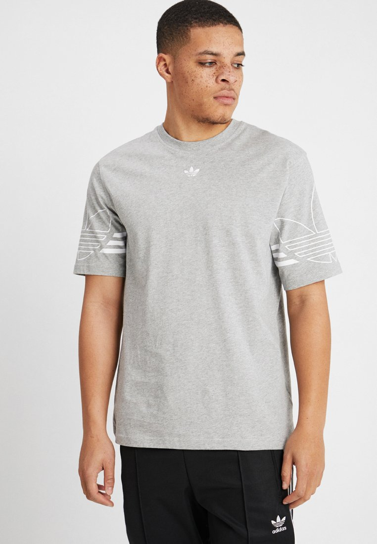 adidas Originals - OUTLINE TEE - T-shirt print - mottled grey
