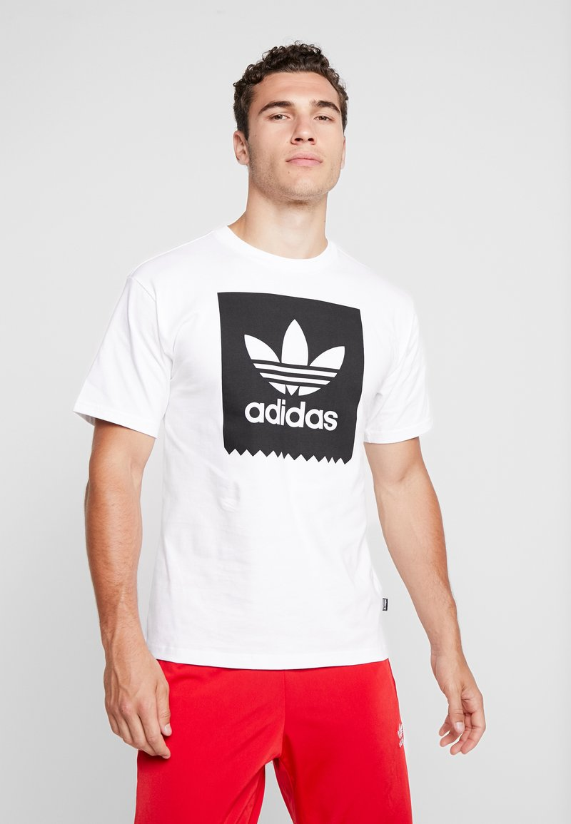 adidas Originals - SOLID - Print T-shirt - white/black