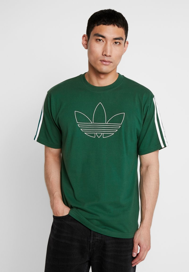 adidas Originals - OUTLINE TREFOIL TEE - T-shirt con stampa - collegiate green