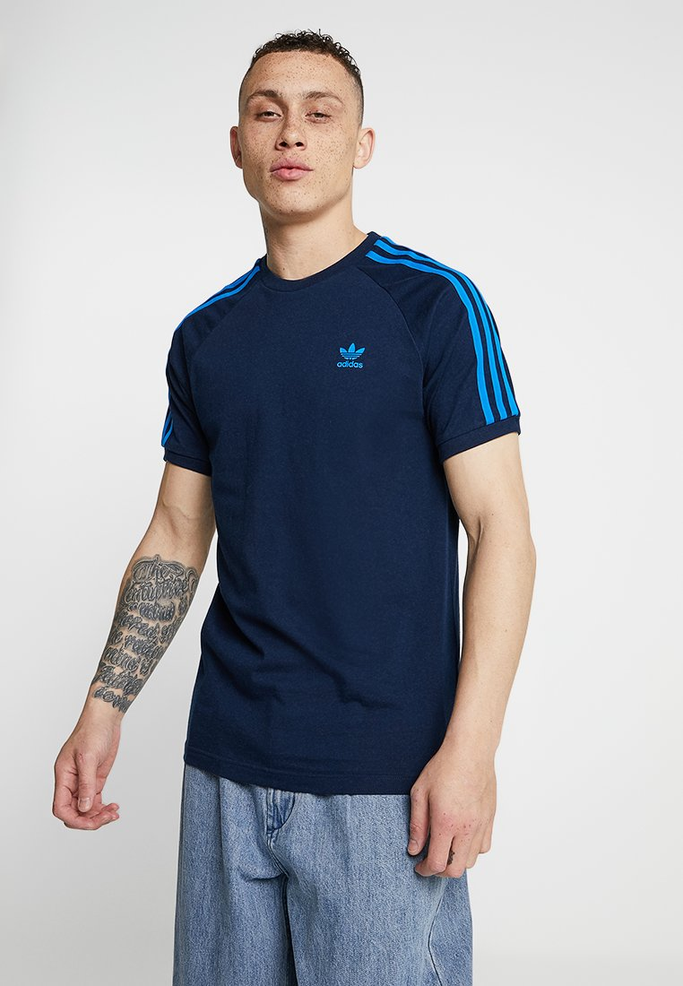 adidas Originals - ADICOLOR 3 STRIPES TEE - T-shirt z nadrukiem - collegiate navy