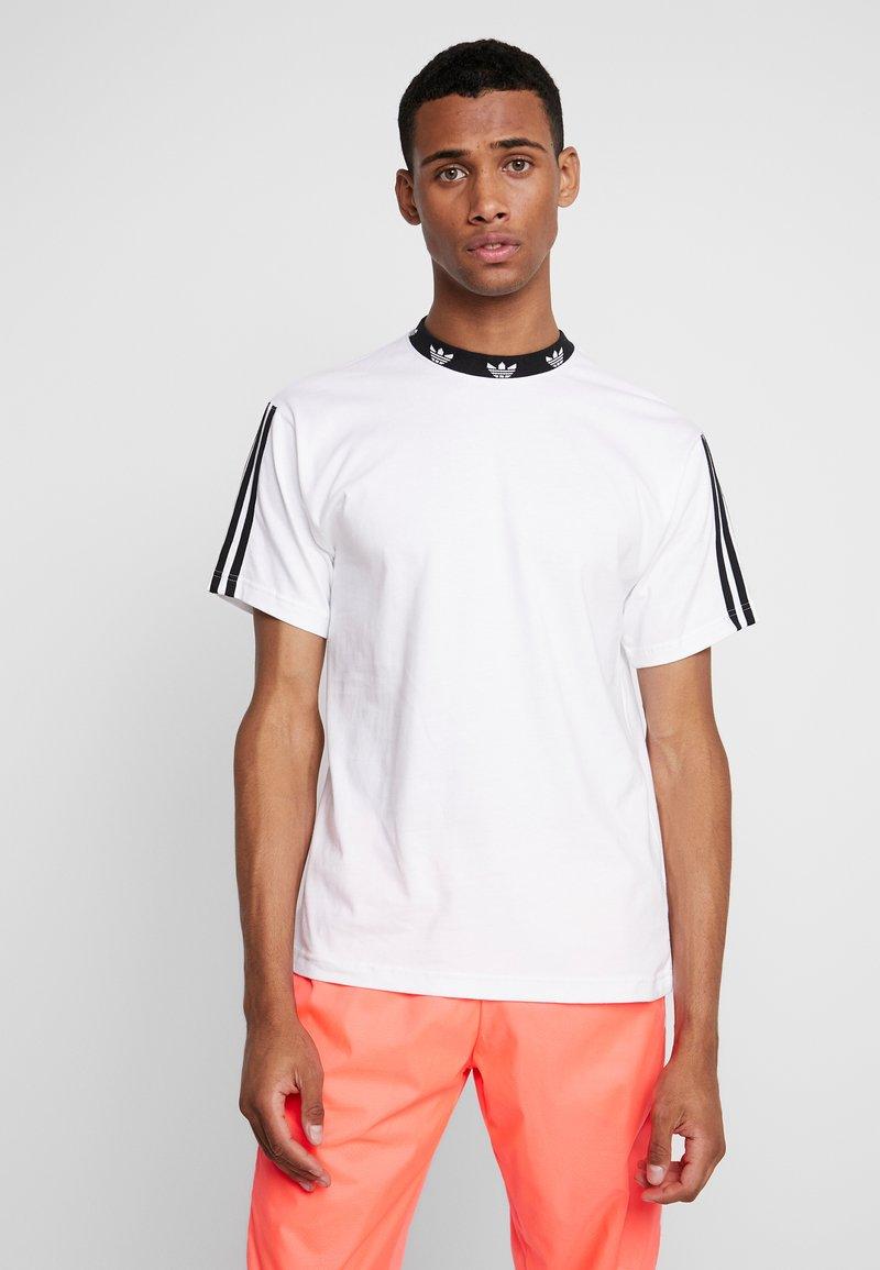 adidas Originals - TREFOIL RIB TEE - T-shirt print - white/black