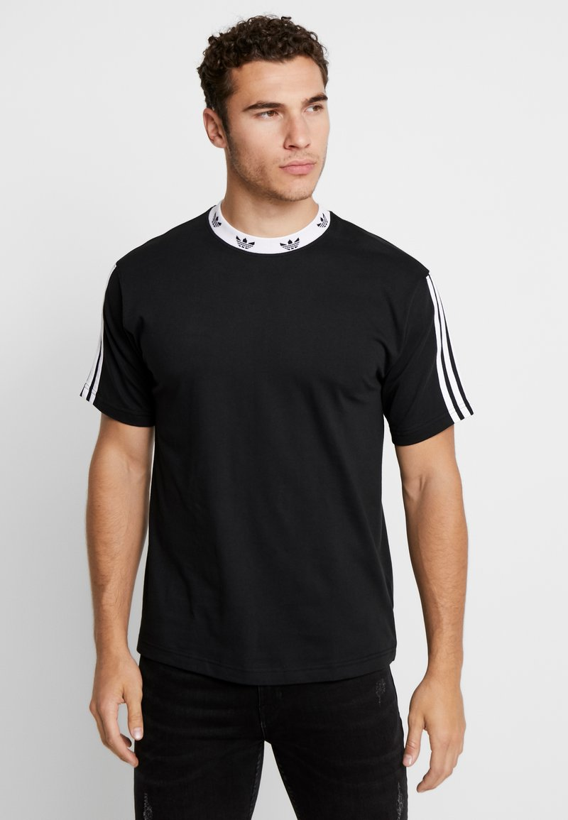 adidas Originals - TREFOIL RIB TEE - Camiseta estampada - black/white