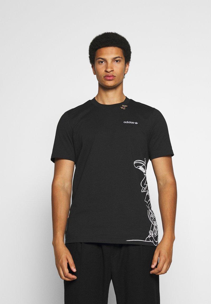 adidas Originals - GOOFY TEE - Print T-shirt - black/white