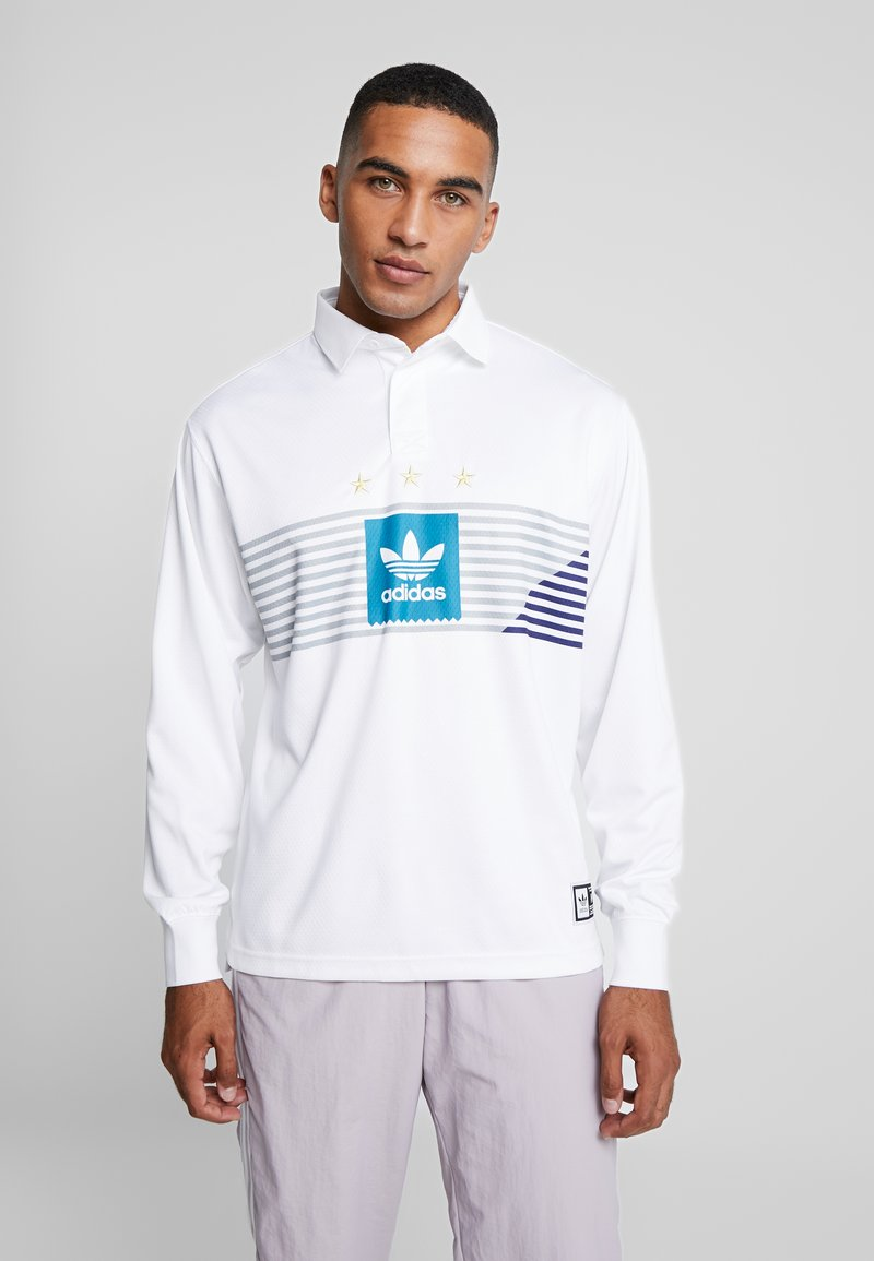 adidas Originals - RUGBY - Polo - white/grey/active teal/collegiate purple