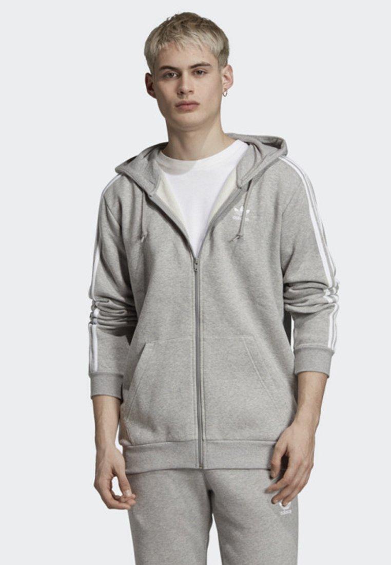 adidas Originals - ADICOLOR 3 STRIPES HOODIE - Felpa aperta - grey