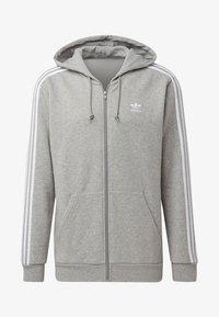 adidas Originals - ADICOLOR 3 STRIPES HOODIE - Felpa aperta - grey - 5